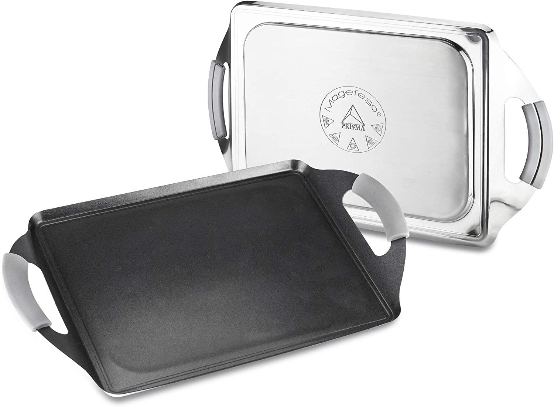 Plancha Teppanyaki MAGEFESA Prisma. Teppanyaki Fabricado en Acero Inoxidable, Antiadherente Triple Capa, Apta para Todo Tipo de Cocina, INDUCCIÓN. Apto para lavavajillas y Horno. (41cm x 27cm)